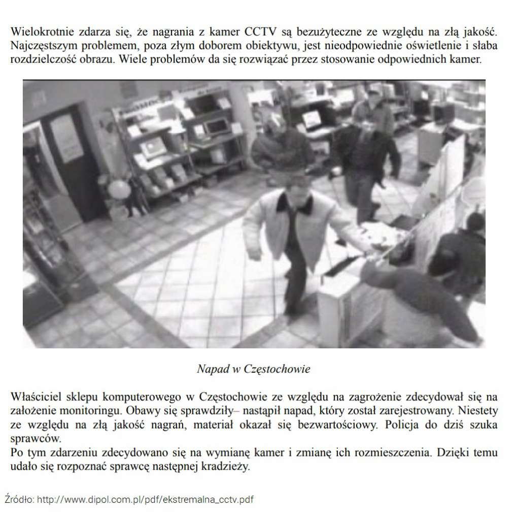 Przykład nagrania z kamery monitoringu CCTV