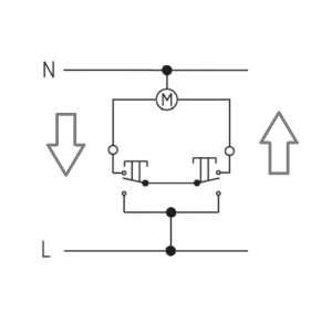 Uproszczony schemat sterowania roleta elektryczną za pomocą dwuklawiszowego łącznika