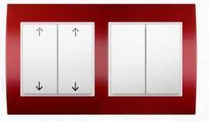 Klawiszowy podwójny łącznik roletowy i łącznik świecznikowy seria Berker B.3