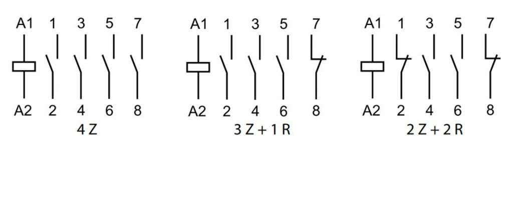 Układ styków styczników modułowych 4-torowych