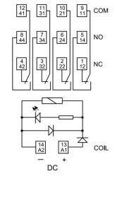Schemat przekaźnika 55.34.8.230.0040 z podstawką 94.P4 SPA i modułem zabezpieczającycm