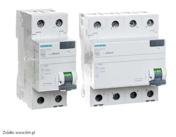 Wyłączniki różnicowoprądowe dwu i trójfazowe Siemens