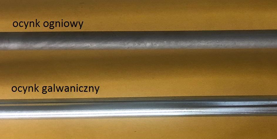 Wizualne porównanie prętów uziomu ocynk ogniowy i ocynk galwaniczny
