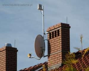 Maszt antenowy oraz wkład kominowy poza strefą ochronną LPS