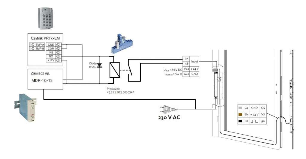Schemat połączenia elektrozaczepu z klawiaturą
