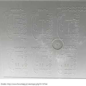 Schematy podłączenia naniesione na płycie indukcyjnej