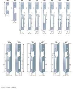 Przykłady blach czołowych do elektrozaczepów