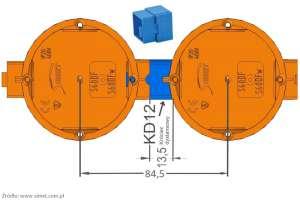 Łącznik KD12 do puszek szeregowych Simet zapewnia dodatkowy odstęp do montażu osprzętu nieramkowego.