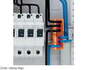 Szybkozłączka Wago zamontowana za pomocą adaptera na szynie TH35