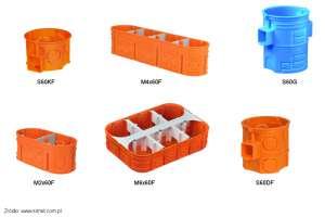 Do osprzętu ramkowego stosuje się puszki szeregowe lub specjalne puszki dedykowane pod konkretną ilość osprzętu.