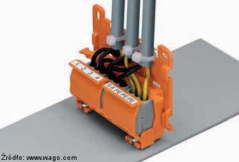 Adapter montażowy Wago serii 222 z płytką odciążającą 222-505 zamocowany na powierzchni płaskiej