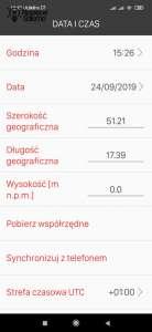 Szczegóły ustawień daty i czasu w aplikacji Exta Life Zamel