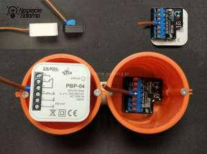 Linka zakończona tulejką podłączona do elementów elektronicznych Blebox i Zamel umieszczonych w puszce.