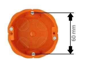 Standard 60 mm oznacza w puszce rozstaw wkrętów mocujących osprzęt