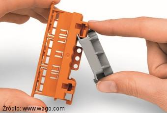 Montaż adaptera kontowego 222-510 na adapterze 221-510 Wago