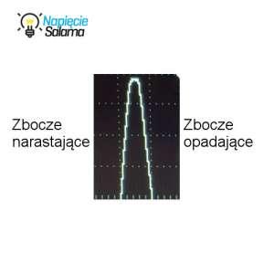 Przebieg sinusoidalny na oscyloskopie (połówka sinusoidy)